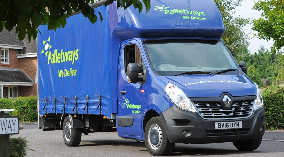 Palletways truck in residential street